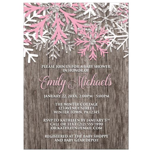 Baby Shower Invitations - Pink Snowflake Rustic Winter Wood