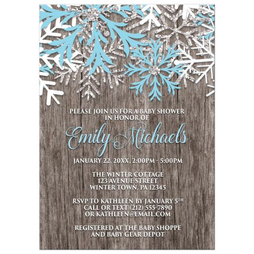 Baby Shower Invitations - Blue Snowflake Rustic Winter Wood