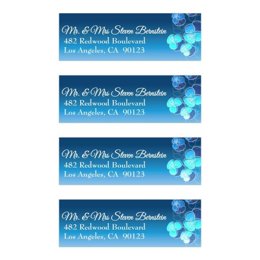 Blue Ombre Floral Falling Pansy Mailing Labels