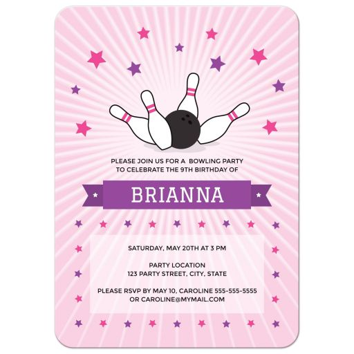 Pink bowling party invitation for girls with bowling ball knocking down pins.