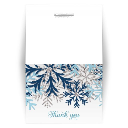 Thank You Cards - Winter Snowflake Blue Silver