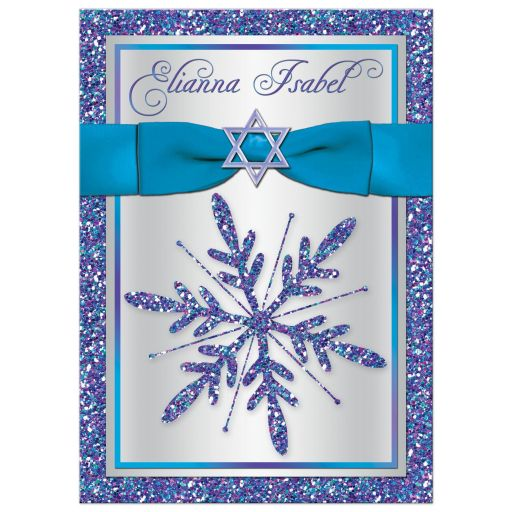 Great frozen winter wonderland Bat Mitzvah snowflake invitation in purple, turquoise, teal and silver with ribbon, bow, Star of David and glitter.