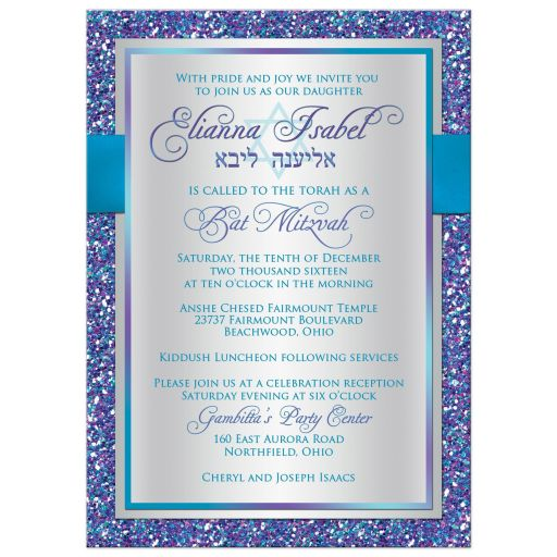​Best frozen winter wonderland Bat Mitzvah snowflake invite in purple, turquoise, teal and silver with ribbon, bow, Star of David and glitter.
