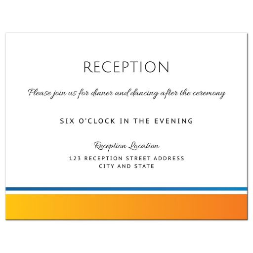 Modern wedding reception card with yellow-orange and blue border matching the sun and wave sunrise wedding invitation.