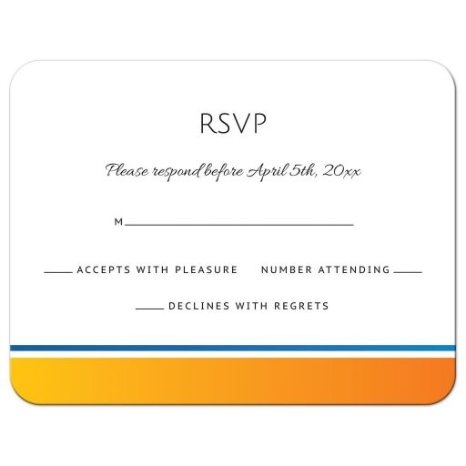 Modern wedding RSVP card with yellow-orange and blue border matching the sun and wave sunrise wedding invitation.
