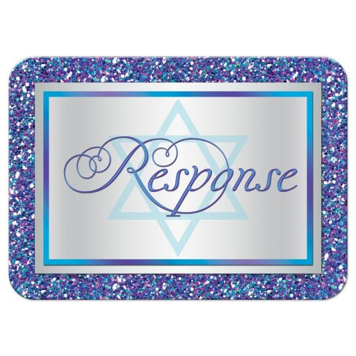 Great purple, turquoise and silver gray Bat Mitzvah RSVP card with multi-colored FAUX (simulated) glitter and Star of David.