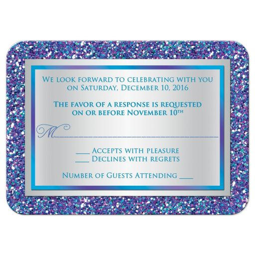 Best purple, turquoise and silver gray Bat Mitzvah response card with multi-colored FAUX (simulated) glitter and Jewish Star.