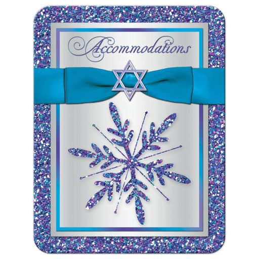 Great ​purple, turquoise and silver gray Bat Mitzvah accommodations enclosure card insert with ribbon, bow, glitter and Jewish Star of David