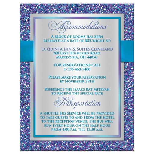 Best purple, turquoise and silver gray Bat Mitzvah accommodations enclosure card insert with ribbon, bow, glitter and Jewish Star.