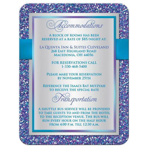 Best ​purple, turquoise and silver gray Bat Mitzvah accommodations enclosure card insert with ribbon, bow, glitter and Jewish Star.