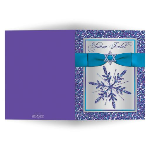 Great personalized Bat Mitzvah thank you card with glitter, ribbon, bow and Jewish Star of David.
