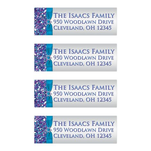 Great ​purple, turquoise and silver gray Bat Mitzvah return address mailing labels with glitter, ribbon, bow and Jewish Star.