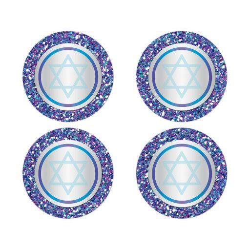 "Best ​2"" round purple, turquoise and silver grey Bat Mitzvah envelope seals or stickers with glitter and Jewish Star of David."