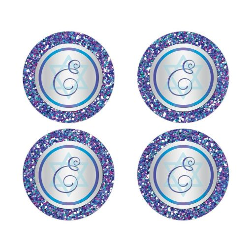 "Great 2"" round purple, turquoise and silver grey Bat Mitzvah envelope seals or stickers with monogram, glitter and Jewish Star of David."