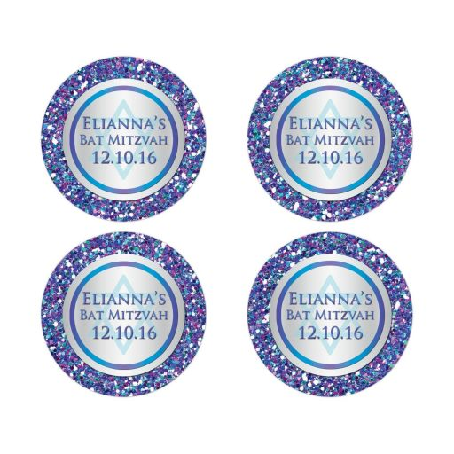 "Great personalized 2"" round purple, turquoise and silver grey Bat Mitzvah envelope seals or favor stickers with glitter and Jewish Star of David"