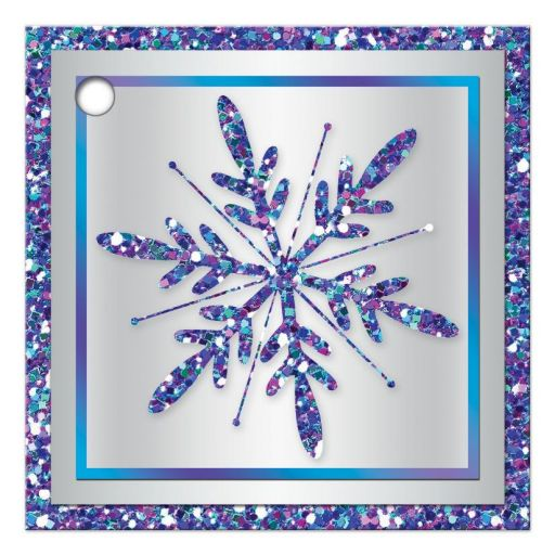 "Great ​2.5"" square purple, turquoise and silver gray Bat Mitzvah party favor tag or gift tag with  multi-colored faux glitter and a pretty purple faux glitter snowflake."