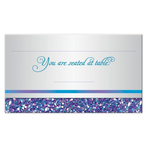 Best ​flat purple, turquoise and silver gray Bat Mitzvah place card with glitter.