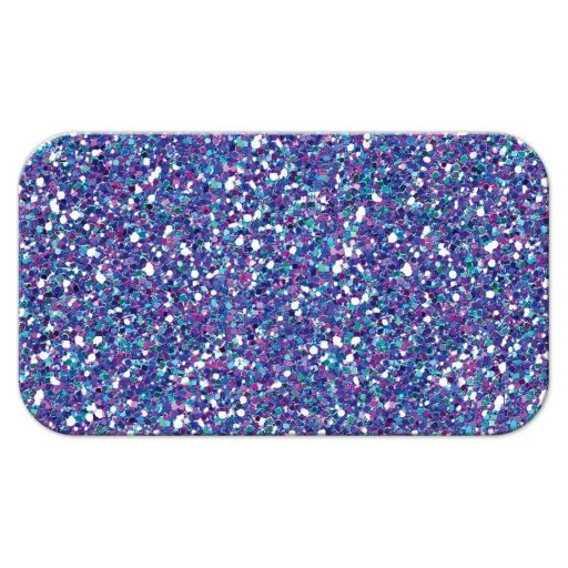 Great flat purple, turquoise and silver gray Bat Mitzvah escort card with glitter.