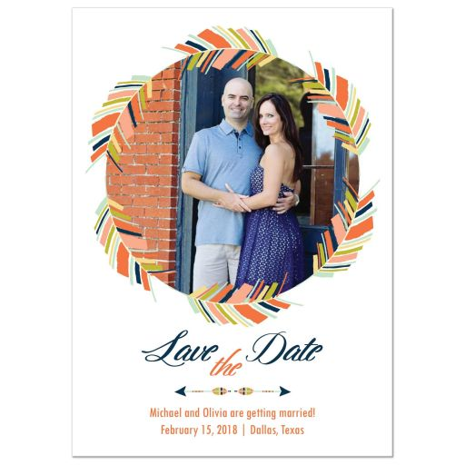 Navy blue and coral feather wreath photo save the date card