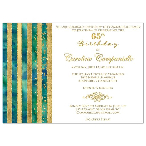 Great peacock blue green watercolors and gold foil and gold glitter striped 65th birthday party invitation.