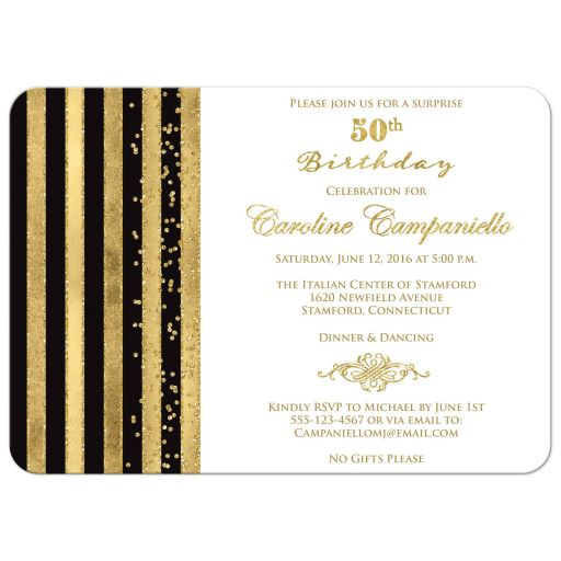 Great elegant black and white 50th birthday party invitation with faux gold foil stripes and gold glitter.