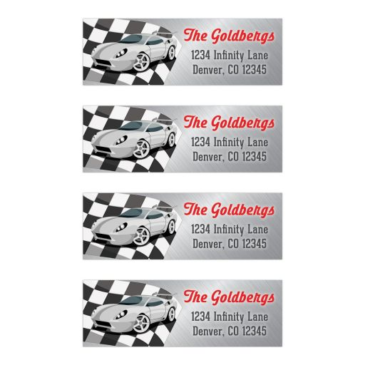 Red, grey, black and white race car car racing Bar Mitzvah mailing labels