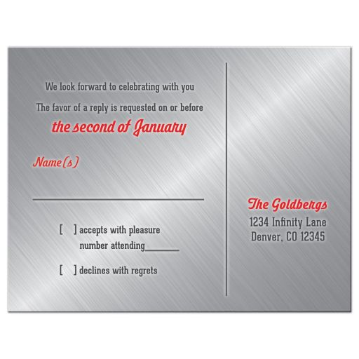Red, grey, black and white race car car racing Bar Mitzvah RSVP reply postcard back