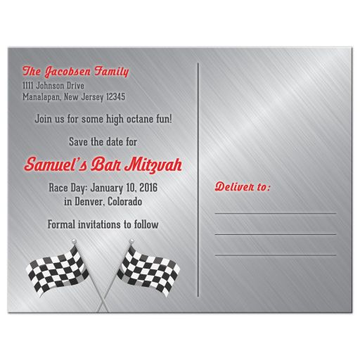 Red, grey, black and white race car car racing Bar Mitzvah save the date postcard back