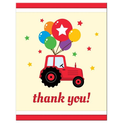 Farm themed birthday party for children flat thank you note card