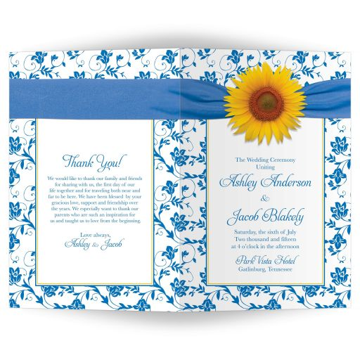 Wedding program cover yellow sunflower blue white damask floral ribbon outside