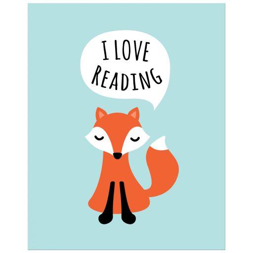 Cute nursery wall art poster print featuring a cartoon fox saying I love reading