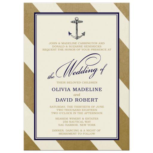 Elegant Nautical Wedding Invitations front