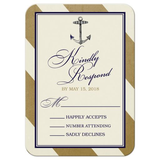 Elegant Nautical Wedding RSVP Cards front