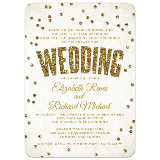 Glitter Look Confetti Wedding Invitations front
