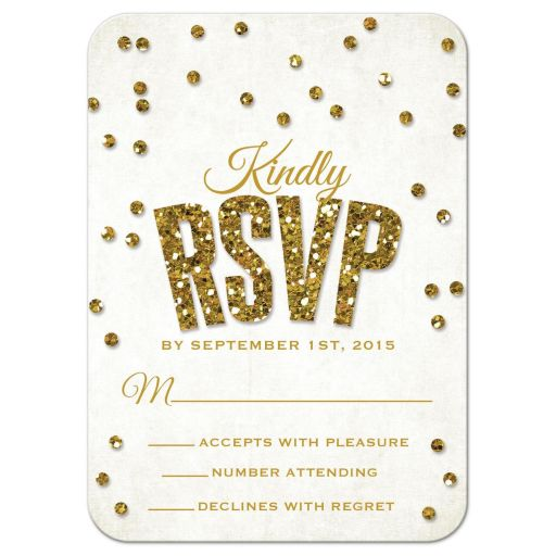 Bold Gold Glitter Look Confetti Wedding RSVP Cards front