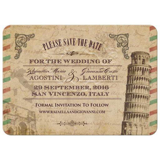 Vintage Italian Wedding Save the Date