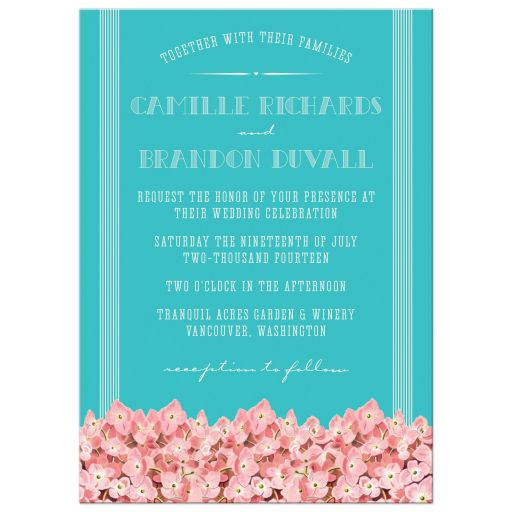 Modern Vintage Hydrangeas Wedding Invitations front