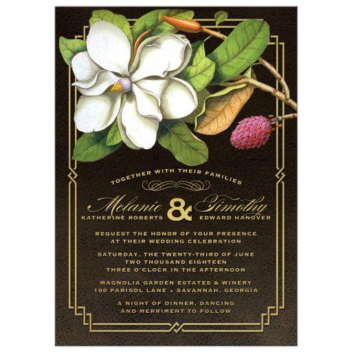 Elegant Vintage Southern Magnolia Wedding Invitations front