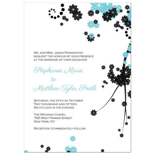 Aqua and black floral wedding invitation
