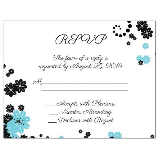 Aqua blue and black floral wedding rsvp flat card