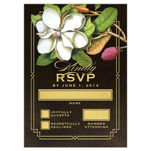 Elegant Vintage Southern Magnolia Wedding RSVP Cards front