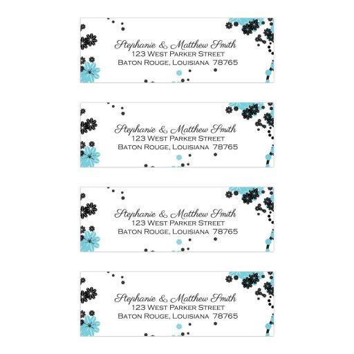 Aqua blue and black floral address labels
