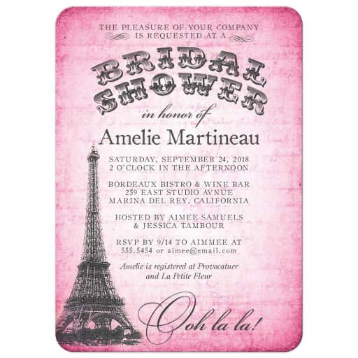 Eiffel Tower Bridal Shower Invitations front