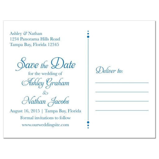 Sunflower Wedding Save the Date Postcard Blue Yellow Floral Back