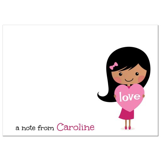Fun flat note card stationery for kids with cute african american or asian cartoon girl holding a pink love heart