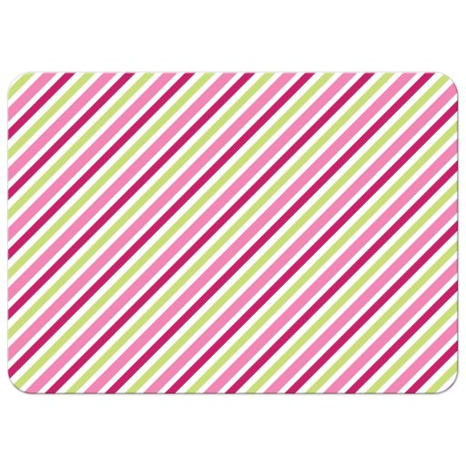 Pink and lime green stripes, back of cute notecard for children with african american or asian girl