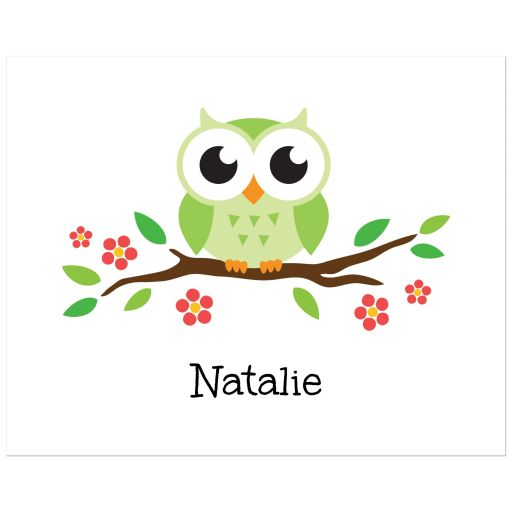 Owl nursery wall art print with green bird on flowering branch. Cute design for kids.