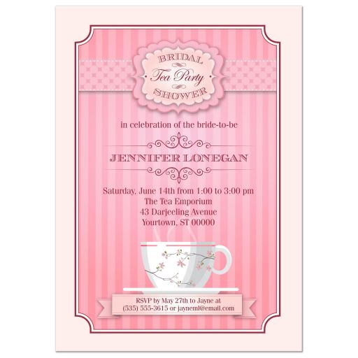 Tea Party Bridal Shower Invitation | Vintage Pink