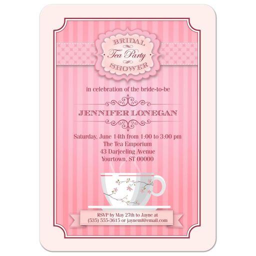Pink Tea Party Bridal Wedding Shower invitation