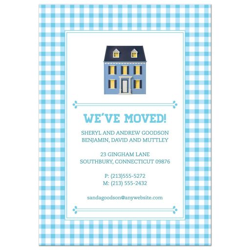 Blue Gingham Dollhouse Moving Housewarming Announcement